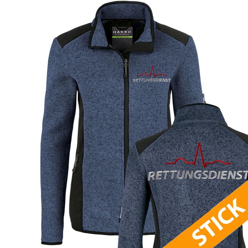 EKG Rettungsdienst Damen Strickfleece Jacke bestickt (S10